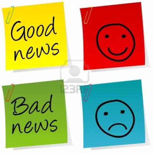 14493219-good-news-and-bad-news-post-it