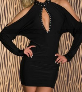 Slits-Sleeves-Hollow-outs-Dress-with-Studs-Black-LC2764-2